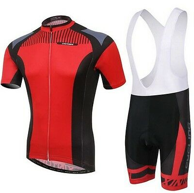 2015 New Red Cycling Bike Short Sleeve Clothing Bicycle Jersey Bib Shorts S-4XL