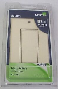 Leviton 5673-2A Decora 3-Way Quiet Rocker Light Switch with