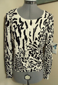 15a6e086660c H&M Cardigan Sweater 12 Black Cream Leopard print Scoop Long sleeve ...