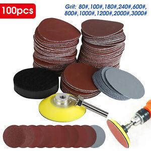 "100PCS 2"" Sanding Disc Sand Paper Hook Loop Sander+Backer Pad+M6 Drill Adapter"