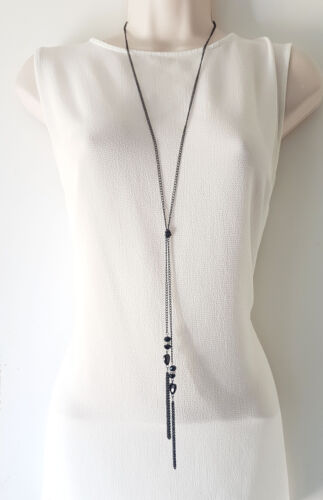 """Stunning 30/"""" long BLACK knotted lariat chain heart /& diamante pendant necklace"""