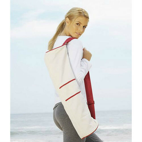 Yoga & Pilates Mat Bag • Natural Canvas/ Red • Large