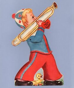 Vintage Valentine's Day Card VALENTINE Trombone MARCHING BAND Mechanical