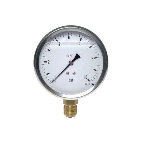 Glycerinmanometer Ø 100 mm, Anschl. unten, Kl 1.0 Glyzerin, Vakuum, Eco-Line