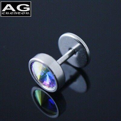 A single circular barbell earring piercing stud 18g US SELLER