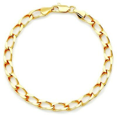 "18K Gold Plated D/Cut Cuban Curb Chain Bracelet 5mm - Lifetime Warranty 8"" 9"""