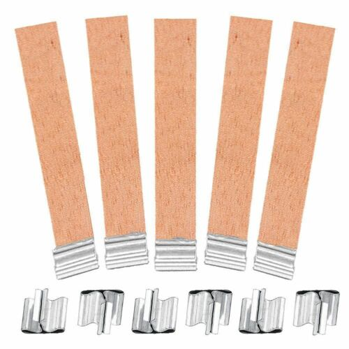 10Pcs 2 Sizes Wooden Candle Wicks /& 10Pcs Iron Candle Wick Stands Sustainers DIY