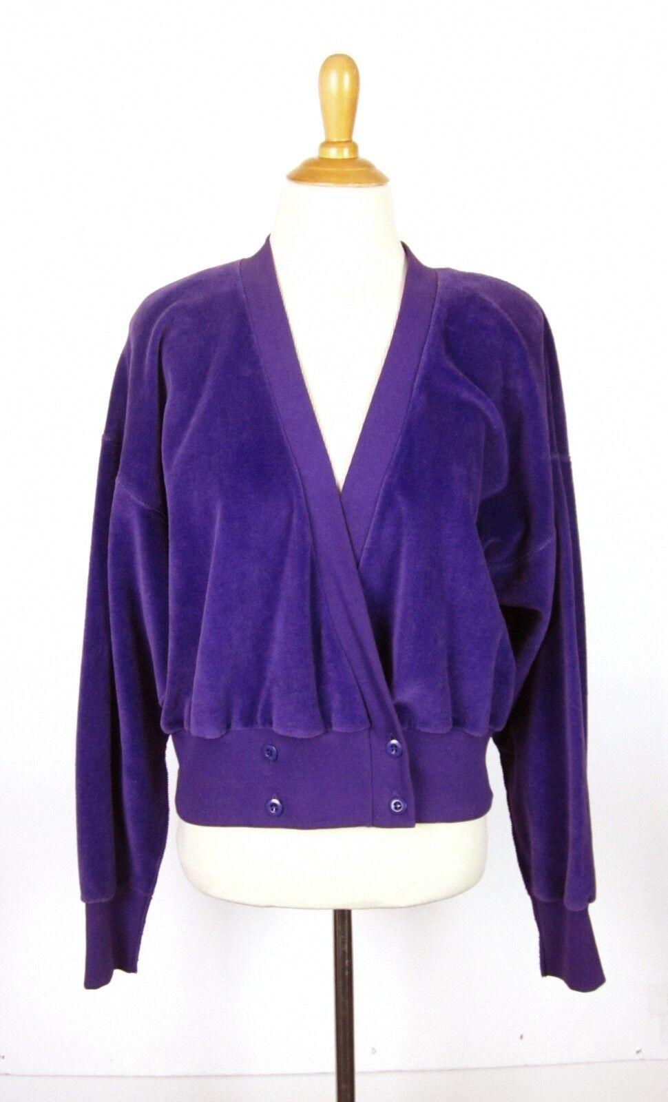 Vintage 80s Sonia Rykiel Purple Velour Sweatshirt Cardigan M L L L Made in France d9a4d9