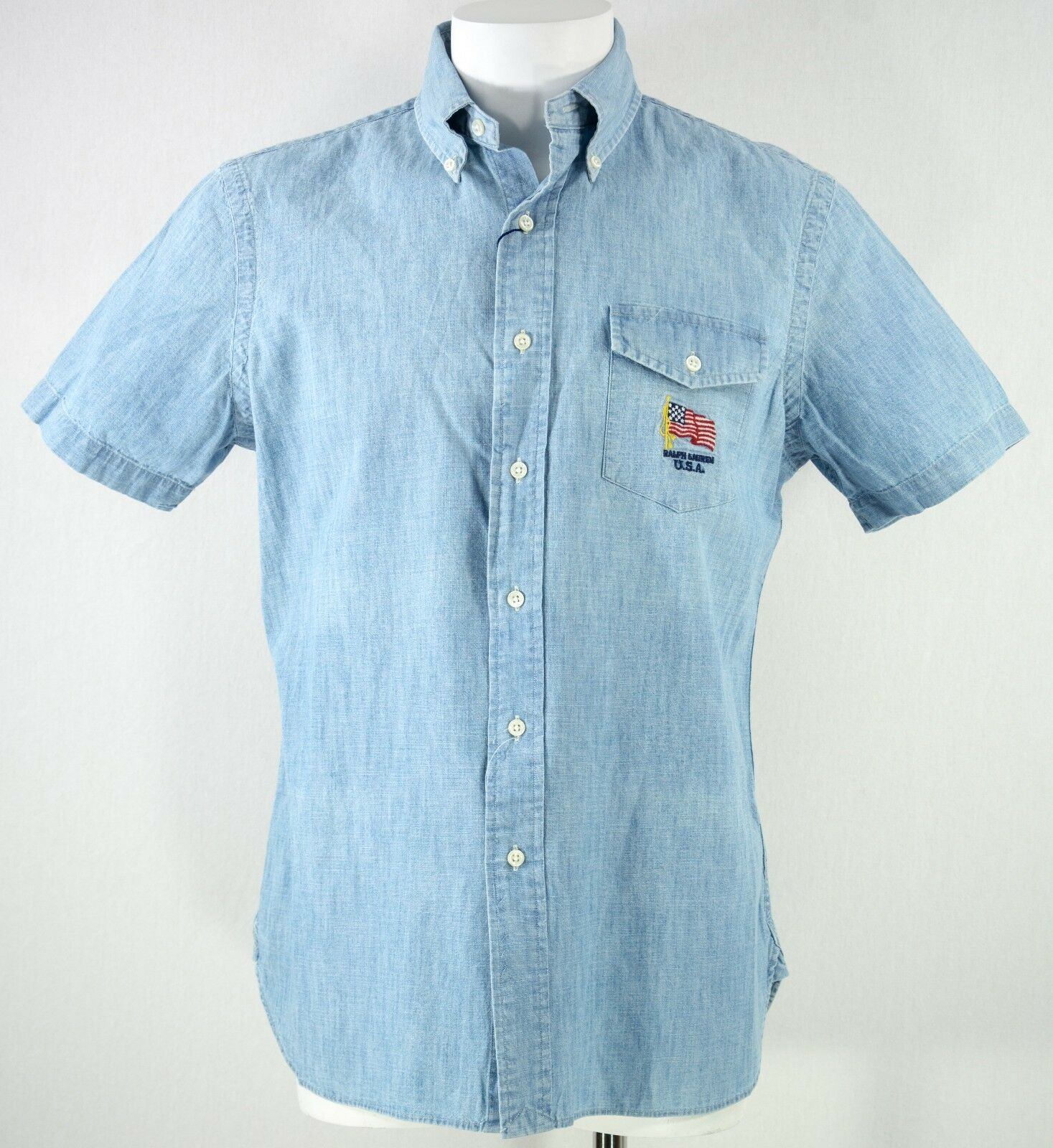 Men's Polo Ralph Lauren size MEDIUM bluee Flag Embroidered Short Sleeve Shirt NEW