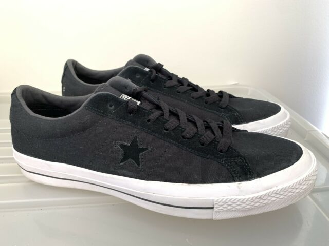 Near New Mens CONVERSE One Star Black White Sneakers Size 11 #14622