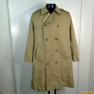 MISTY-HARBOR-Vtg-Long-RAINCOAT-Rain-Trench-Coat-Mens-Size-M-40-khaki-w-liner
