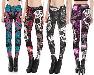 855e38bb15ab2 Image is loading Leggings-Sugar-Skull -Tattoo-Floral-Diamond-Rockabilly-Trend-