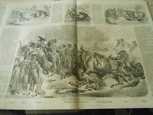 IndéPendant Grande Gravure 1864 - Le Taureau Collant Lucas Blanco Cuchares Prima Spada Une Gamme ComplèTe De SpéCifications