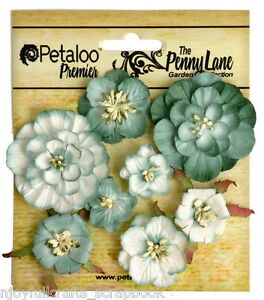 Mixed-Blossoms-ROBIN-EGG-BLUE-8-Paper-Flowers-25-45mm-across-PennyLanePetalooVer