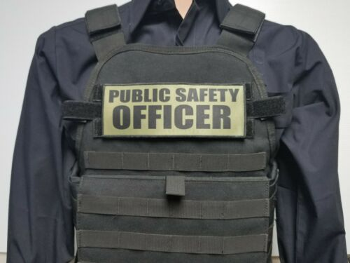 "3x8/"" PUBLIC SAFETY OFFICER OD Green Hook Back Plate Carrier Morale Patch Police"