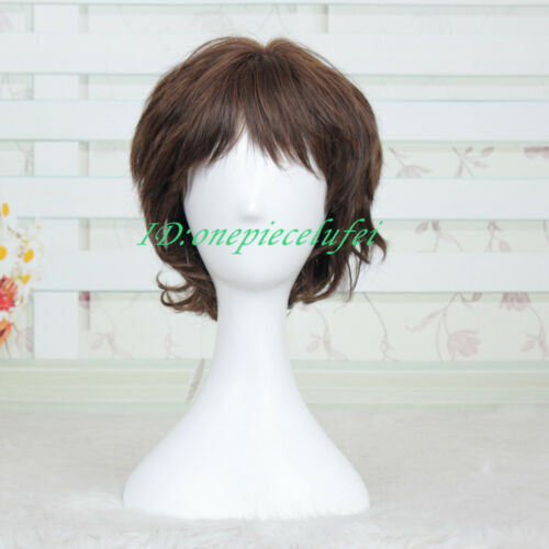 Elderly Kanekalon Fiber wig Popular wave short light brown curly wigs C97