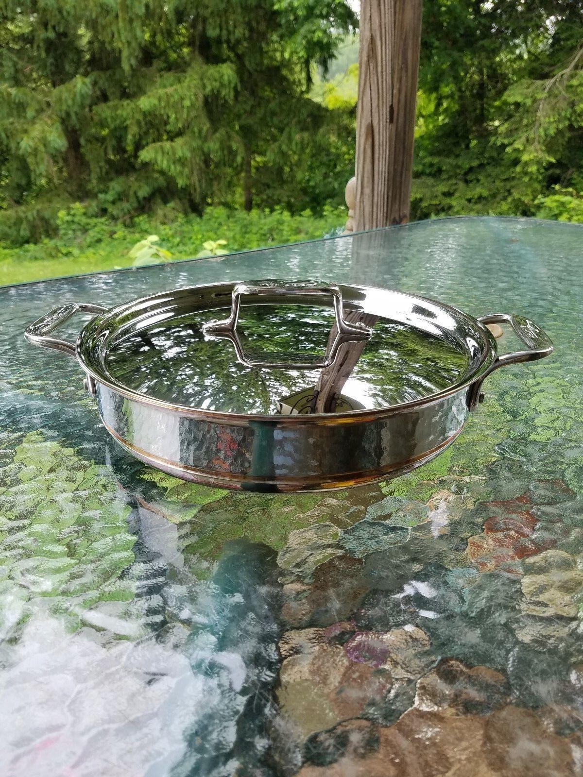 ALL CLAD Copper Core 3 Qt QUART ALL dans une casserole avec couvercle chefs Pan Made in USA