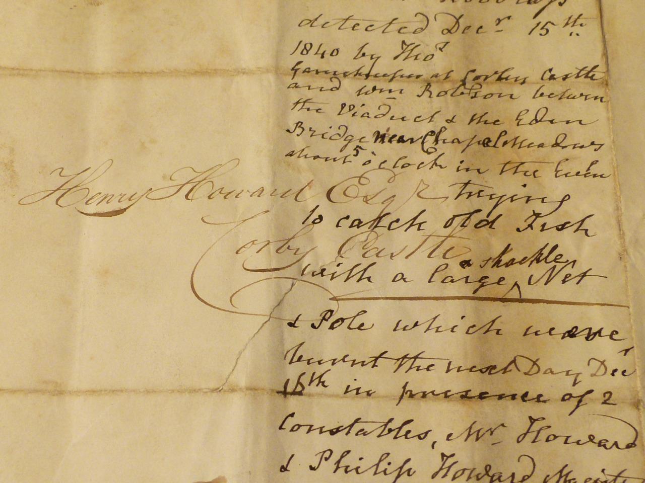 1840 Henry Howard Corby Castle FISH POACHER Interesting Letter Document  CC25