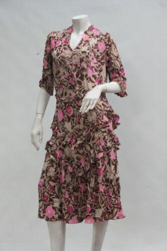 Vintage Antique 20s-30s Floral Print French Dress