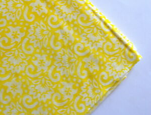 Details About Yellow Block Print Womens Sewing Crafts Clothing Quilting Cotton Vintage Fabric