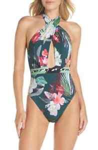 cc5e05e367 La Blanca Jungle Wrap Front One-Piece Swimsuit Hunter Green Floral ...