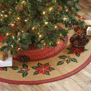 Image Is Loading Poinsettia Jute Braided Stenciled Mini Christmas Tree Skirt