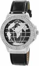 ICE STAR Herren Hip Hop Uhr Silber Schwarz Strass Echt Leder Armband NEU
