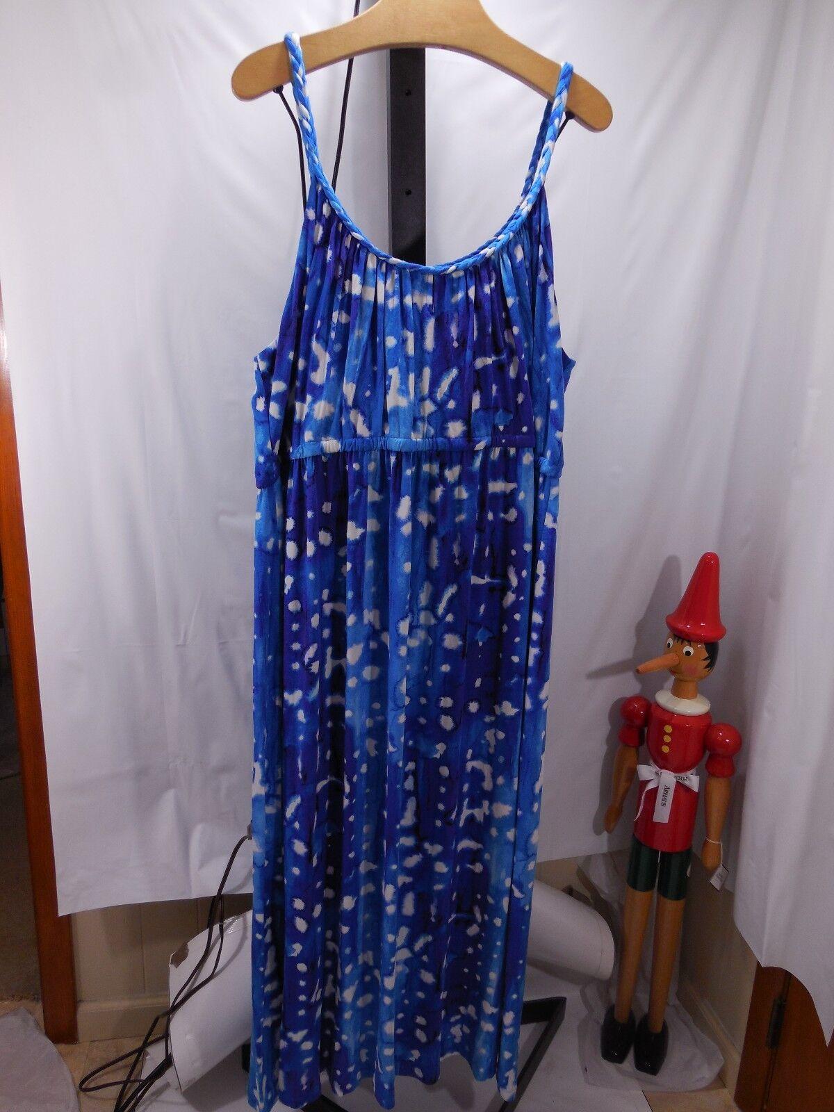 WOMANS LONG STRETCH JERSEY DRESS WATER COLOR PRINT CYNTHIA ROWLEY PLUS 1X 2X