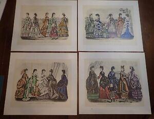 1970 McCall Centennial Portfolio of 4 Prints of Godey's 1870 Fashions   LS0497