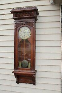 gilbert clock co. large weight driven regulator no. 11 walnut case