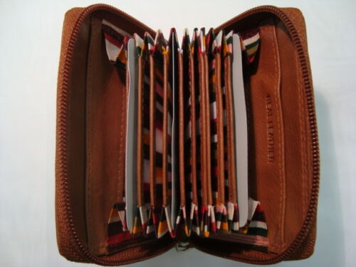 Luxury Soft leather Zip Around Credit Card Holder Concertina Fan Style Tan