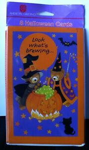 Details About American Greetings 8 Halloween Party Invitation Cards Nip Bear Wizard Witch