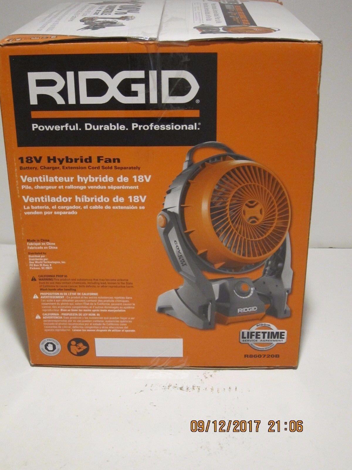 RIDGID R860720B GEN5X Hybrid Fan 18-Volt Rubber Handle Variable Speed Dials NISB
