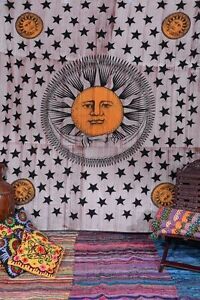 Sun-amp-Moon-Star-Tapestry-Hippie-Throw-Picnic-Blanket-Psychedelic-Wall-Hanging