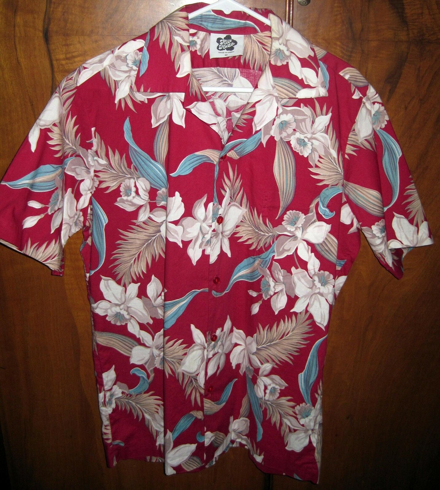 50f20e3a VINTAGE HILO HATTIE HAWAIIAN SHIRT M RED TEAL WHITE COTTON  nqigyt5301-Casual Shirts & Tops