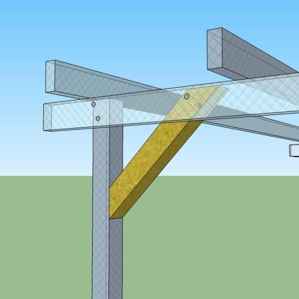 Pergola libera 5x5 in legno impregnato in autoclave e for Costruire una tettoia addossata