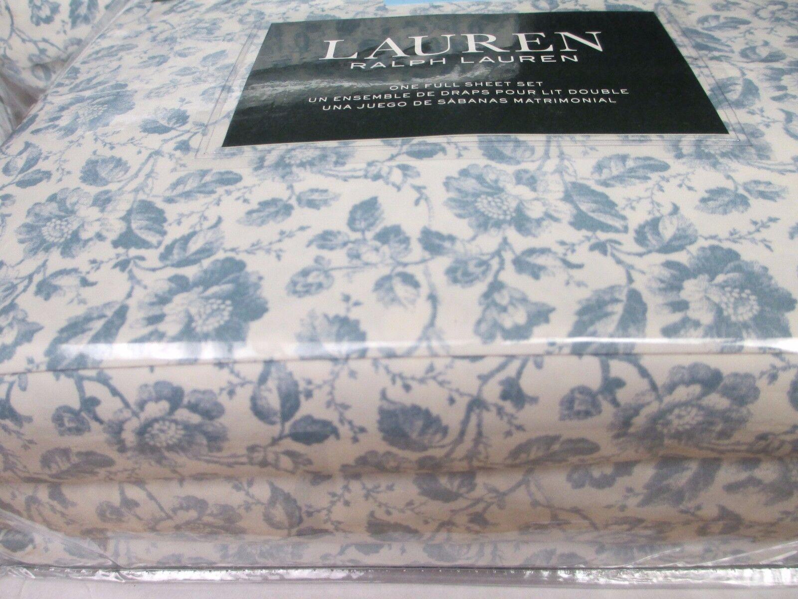 New Ralph Lauren Cotton 4pc Vintage Ivory Cream Blau Floral Sheet Set - Full