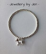 Bracelet Silver Plated Cute Dog Charm Stretch Handmade. Dog Lovers Gift!