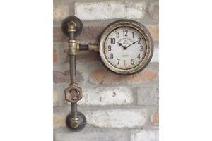 Industrial-Retro-Pipe-Wall-Clock-Vintage-Look-Steampunk-Metal-Fittings