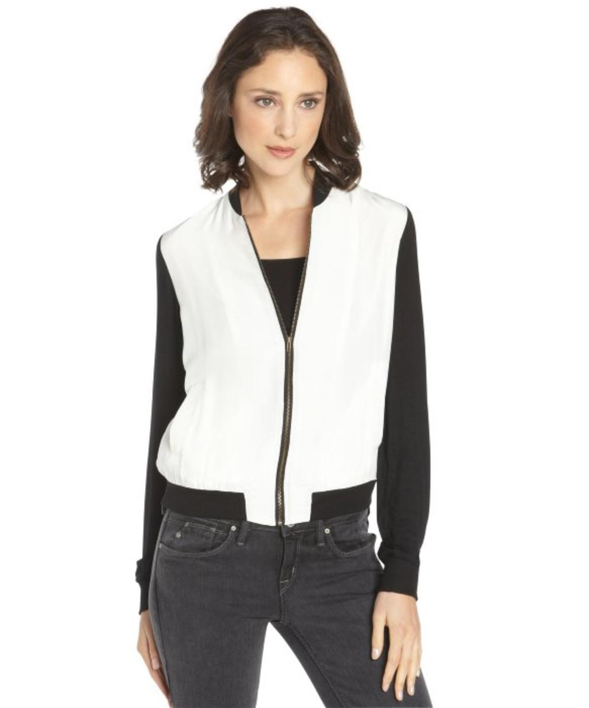 SANCTUARY  faux leather sleeves Weiß zip up jacket sz M new