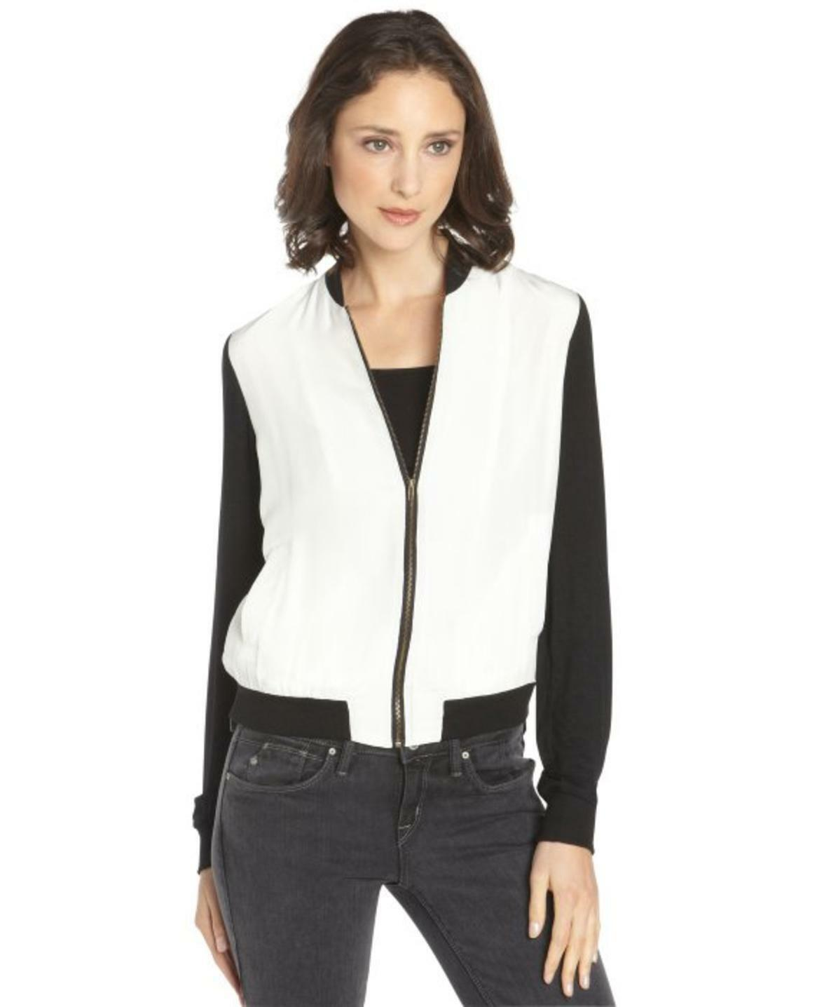 SANCTUARY  faux leather sleeves Weiß zip up jacket sz S new