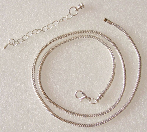 Bright Silvertone Snake Chain Necklace for European Charm Beads 44-51 cms