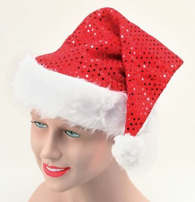 1 X Rosso Paillettes Babbo Natale Cappello Babbo Natale Costume Festa Costume Accessorio-mostra Il Titolo Originale Tieniti In Forma Per Tutto Il Tempo