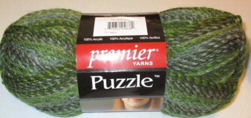 Premier Puzzle Yarn acrylic bulky #5 yarn MAZE green self striping