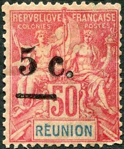 COLONIES-REUNION-N-53-NEUF-Variete-034-SURCHARGE-TRES-DEPLACEE-A-GAUCHE-034