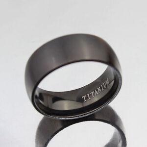 Men-039-s-Black-Titanium-Steel-Ring-Wedding-Engagement-Anniversary-Band-Size-8-12-SO