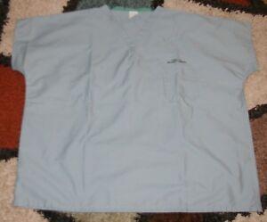 Best Medical Unisex Reversible S//S Scrub Top W// Pocket 100/% Cotton Misty Sz L
