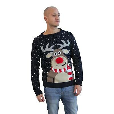 New Womens Mens Unisex Festive Novelty 3D Pom Nose Rero Reindeer Xmas Jumper