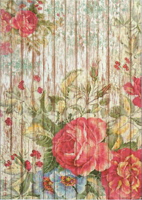 Rice Paper for Decoupage Decopatch Scrapbook Craft Sheet Vintage Fence with Rose