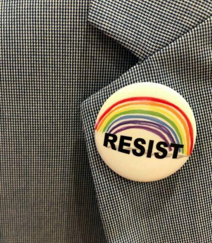 "GLBTQ Anti-Trump 1.5/"" Button RESIST"
